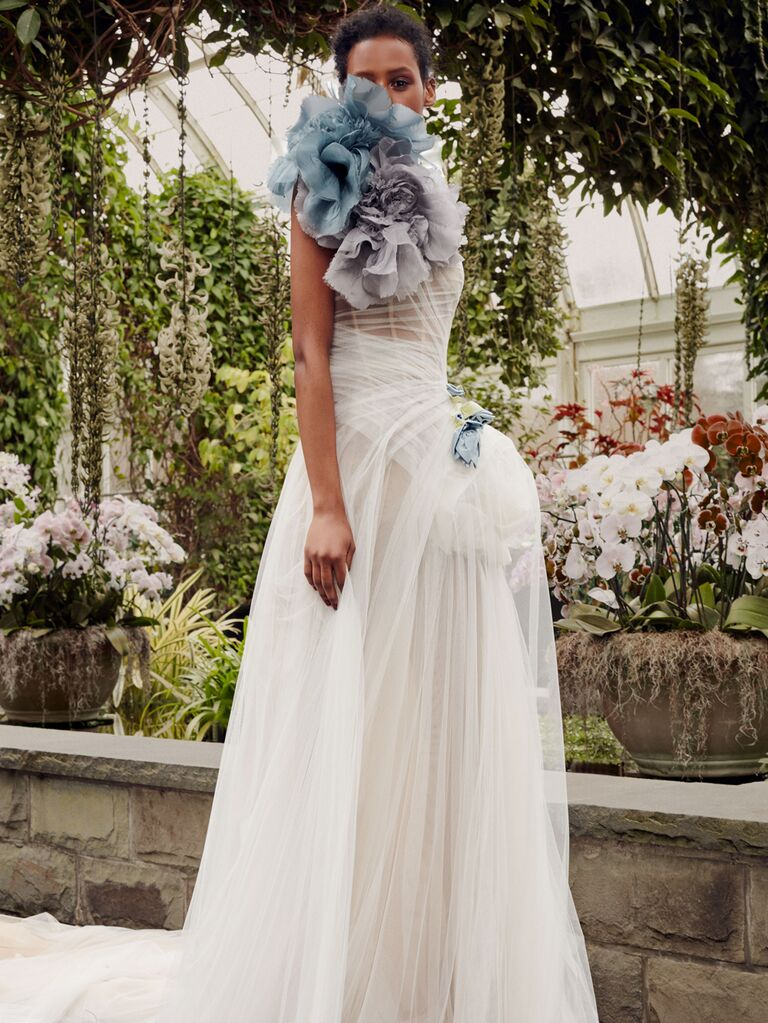 Vera Wang Spring 2020 Bridal Collection draped wedding dress with blue oversize florals
