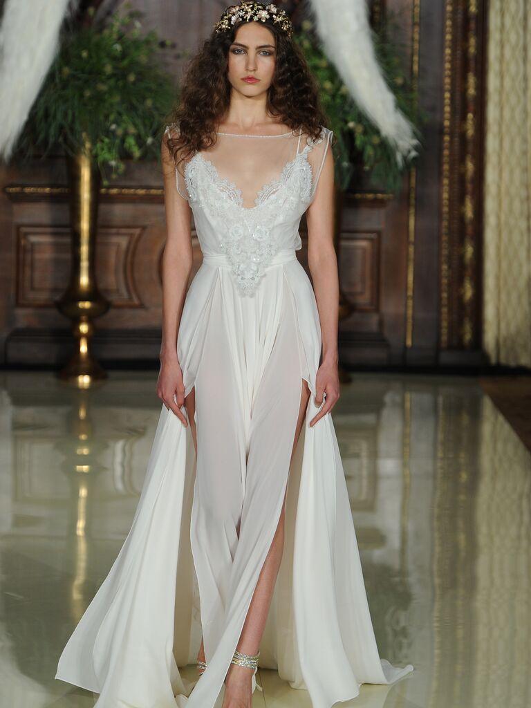 Galia Lahav Illusion Neckline Wedding Dress With High Leg S And Flowing Train From Spring 2016