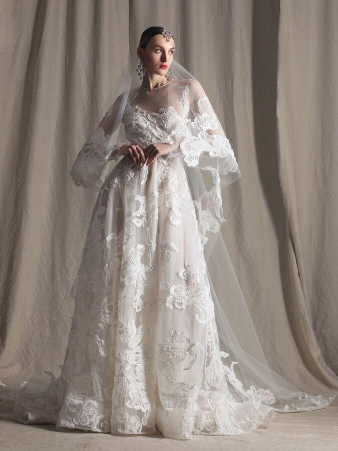 Naeem Khan lace illusion wedding dress