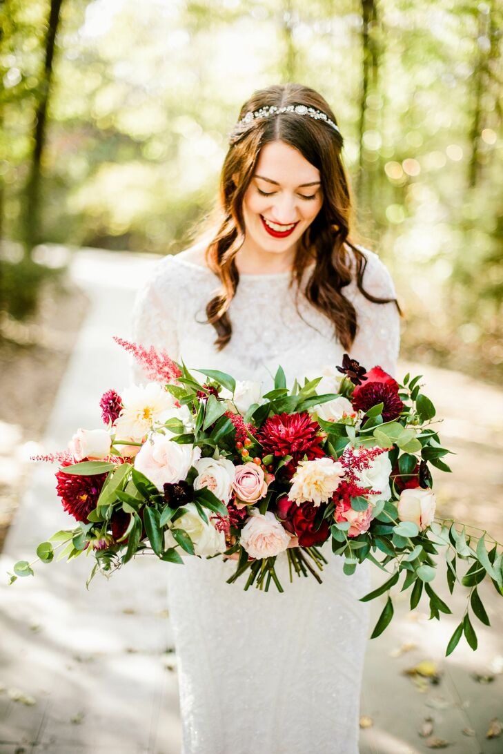 Vintage Bride with Red Bouquet and Greenery