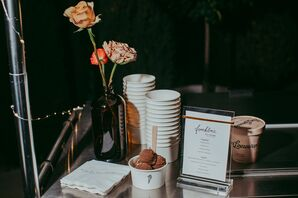 Ice Cream Table with Simple Sign and Vintage Flowers