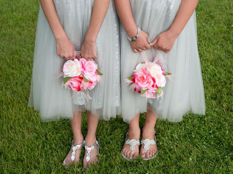 pink and white pomander flower girl bouquets