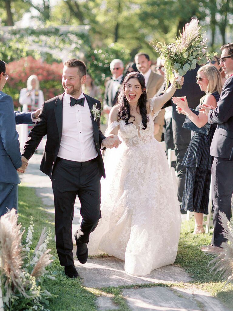 Bride and groom wedding ceremony recessional