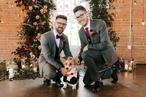 Same-Sex Couple Poses with Dog at Brick in San Diego, California