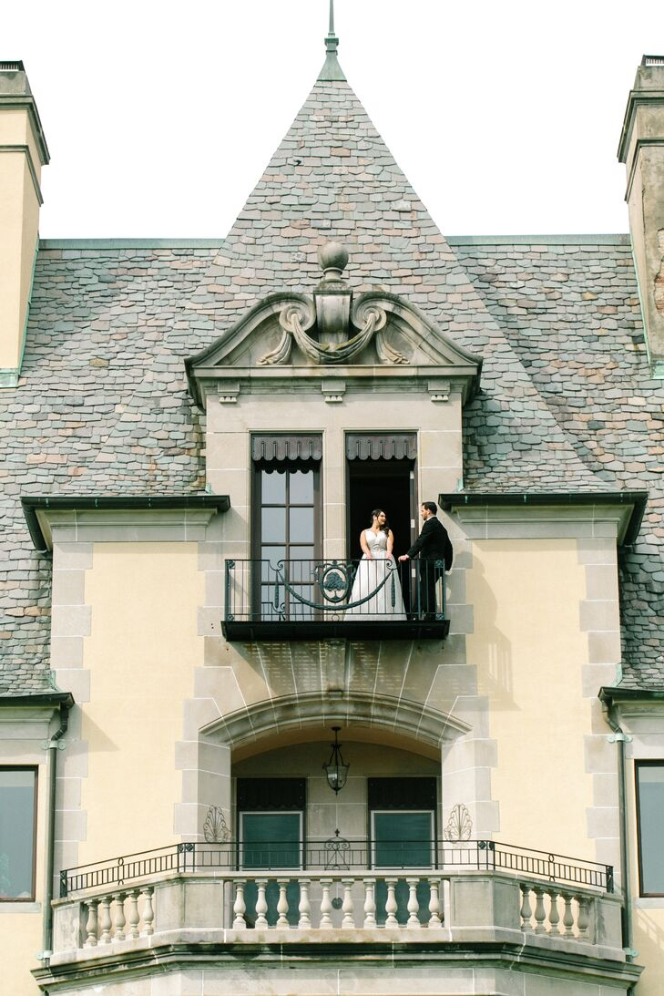 """""""I knew I wanted a romantic, vintage-inspired feel and Oheka Castle was the perfect backdrop. The formal French gardens where we had the ceremony are absolutely stunning, and the elegance and opulence of the castle is the perfect environment for a celebration,"""" says Tara. """"We looked at several other places but once we saw Oheka, nothing compared."""""""