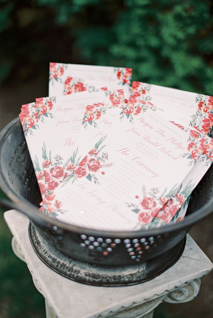 Bohemian Ceremony Programs with Rose Illustrations