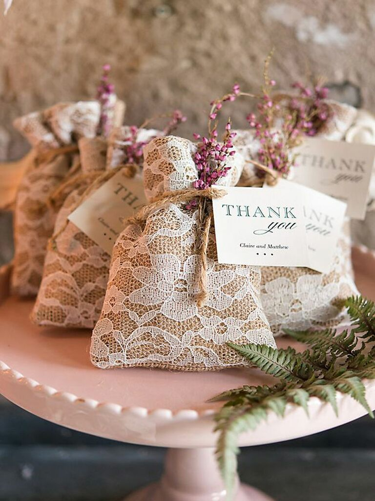 burlap and lace rustic wedding favor bag