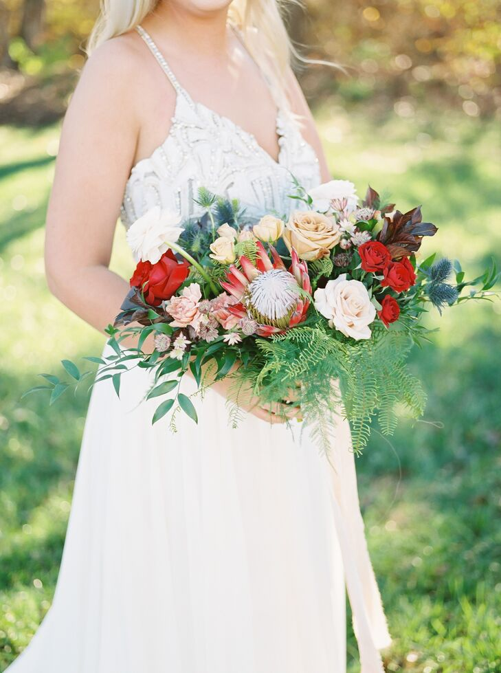 Modern, Tropical-Inspired Bouquet of Roses, Protea and Greenery