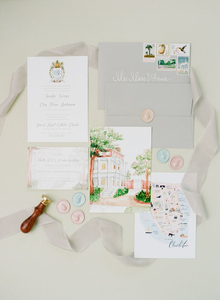 Monogrammed Watercolor Invitations
