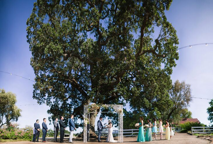 From the beginning of their wedding planning, Ryan wanted to get married underneath a large oak tree. So when they had their outdoor ceremony at Santa Margarita Ranch, they selected a large tree on the property to say their vows in front of.