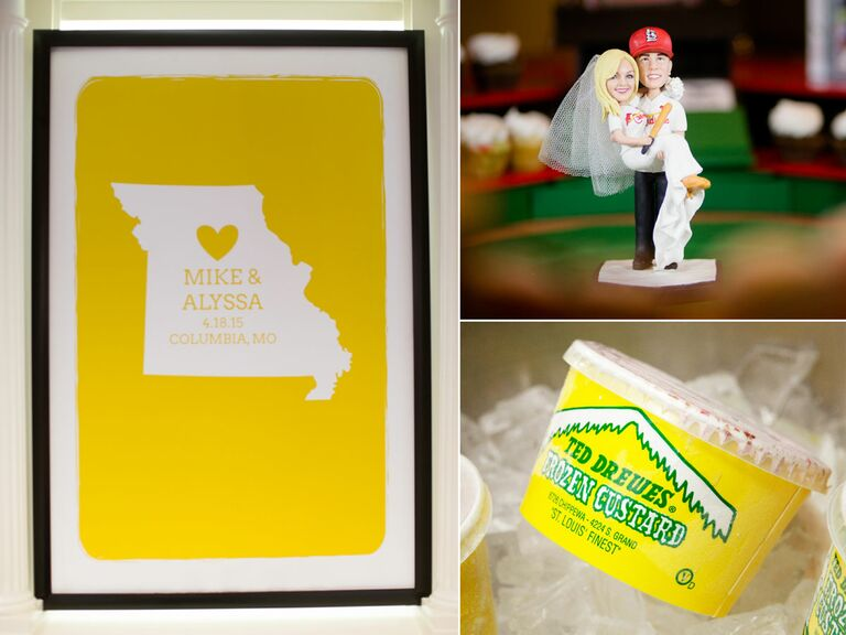Missouri state image in yellow frame, cake topper, and custard