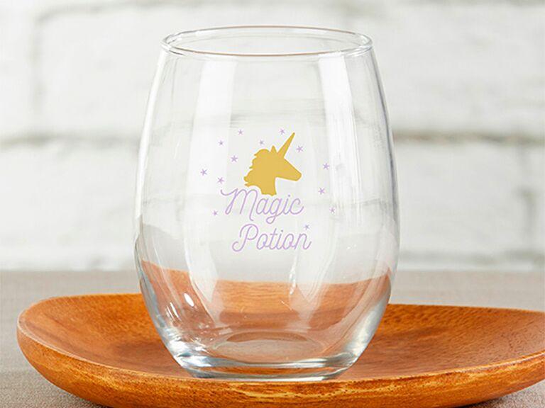 stemless wine glass custom