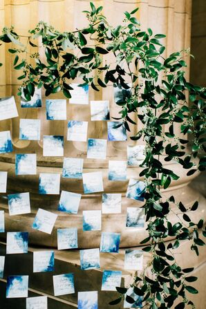 Blue Watercolor Escort Cards on Acrylic Wall