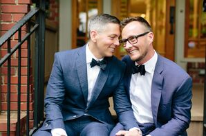 Grooms in Navy Suits and Bow Ties