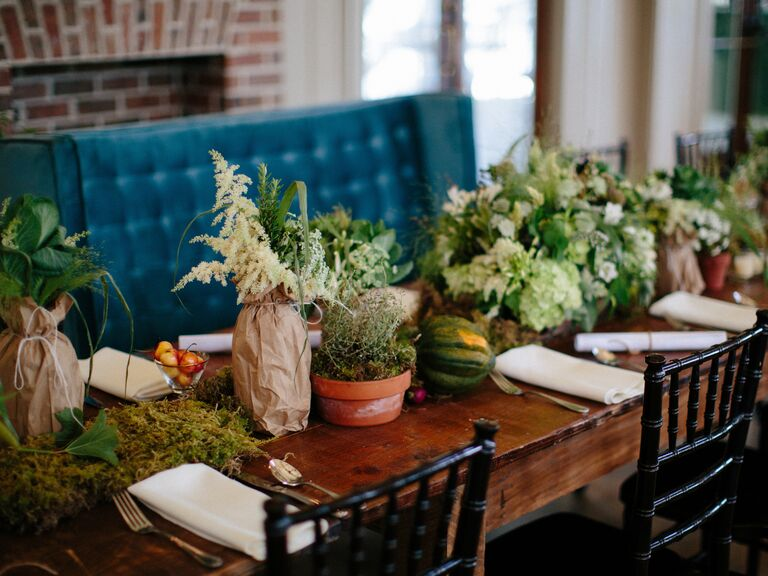 Green Wedding With Farm To Table Decor And Food Menu