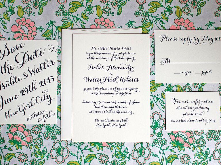 Greenwich Letterpress handwritten calligraphy wedding invitation