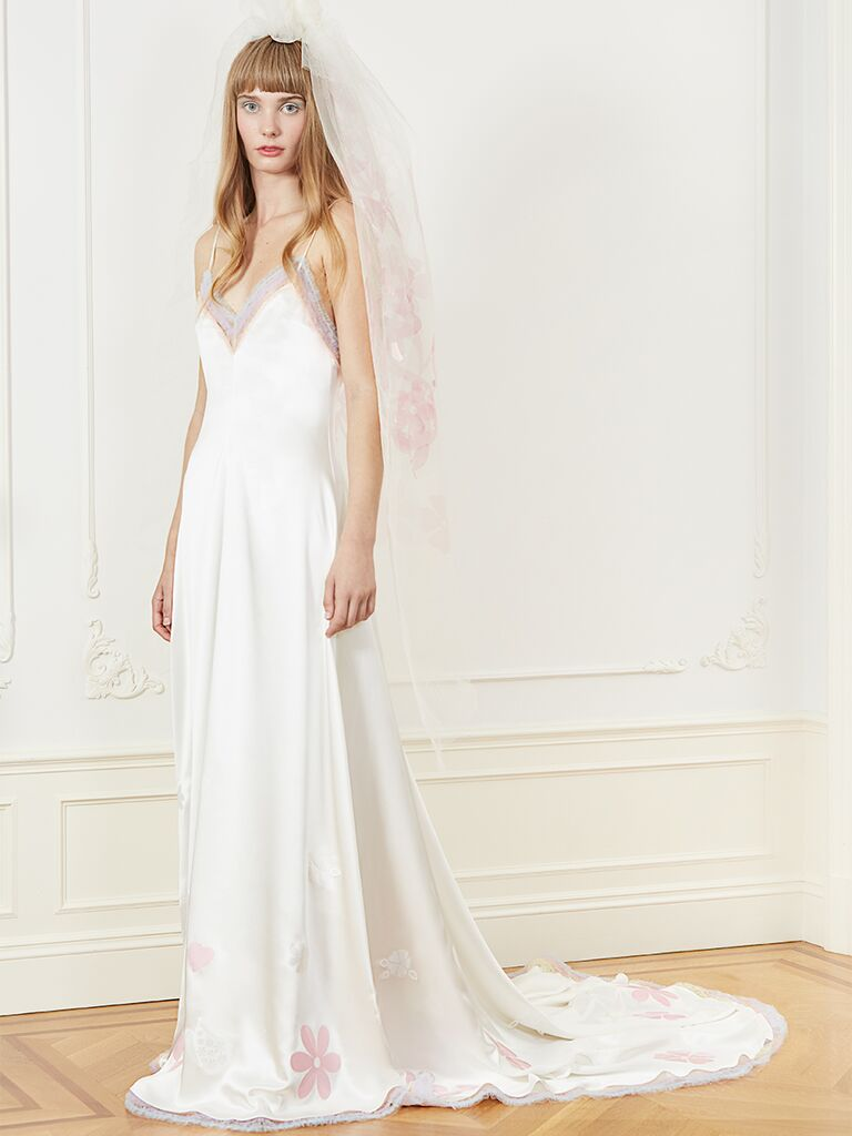A-line wedding dress with V-neckline and colored floral appliques