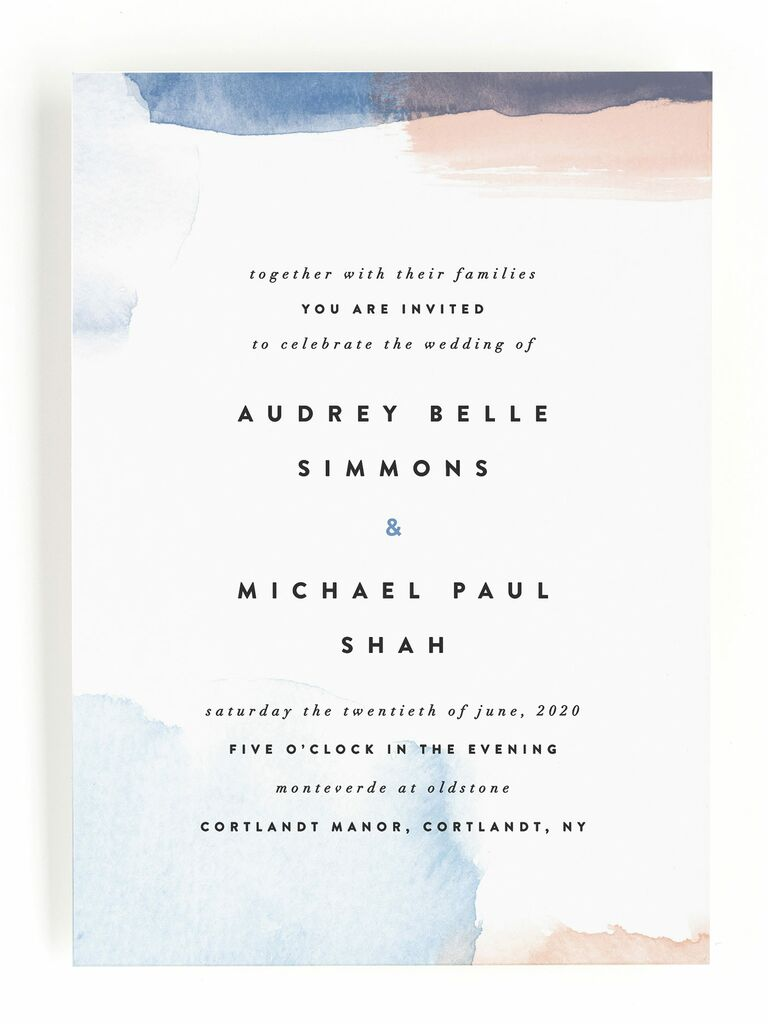 Minted pastel watercolor spring wedding invitation