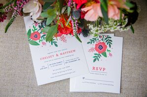 Red-Flower-Decorated Wedding Invitations