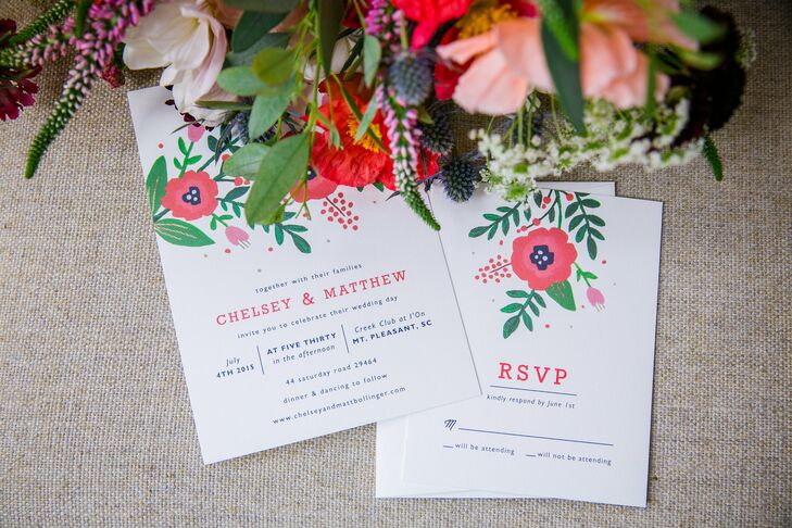 The invitations were from Minted. They matched the Fourth of July-inspired palette and also the stunning flowers, which brought an overgrown garden twist to the outdoor wedding at Creek Club at I'On in Mount Pleasant, South Carolina.