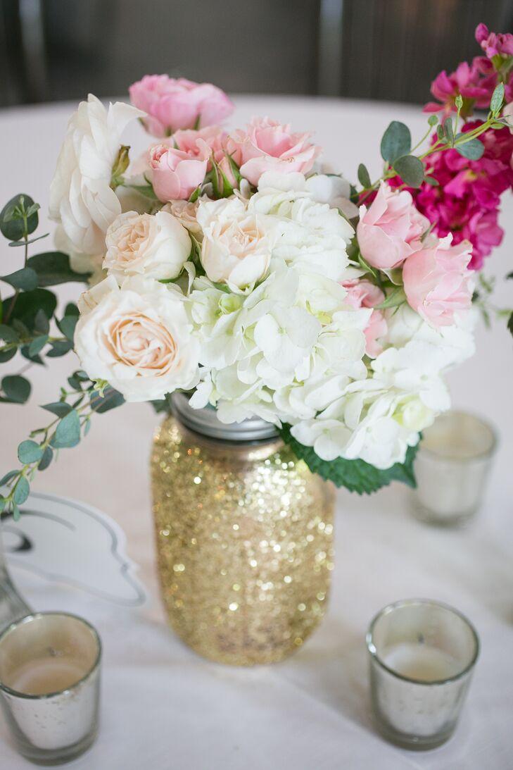 Glittery Gold Mason Jar Centerpiece