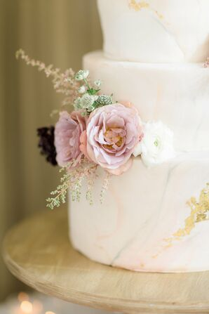 Blush and Gray Marble Cake with Wildflower and Lisianthus Clusters