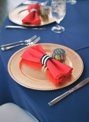 Pink Linens With Striped Napkin Holders