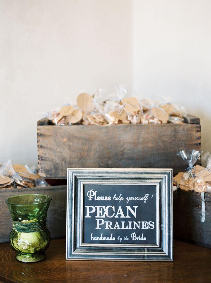 Pecan Praline Favors in a Wooden Box