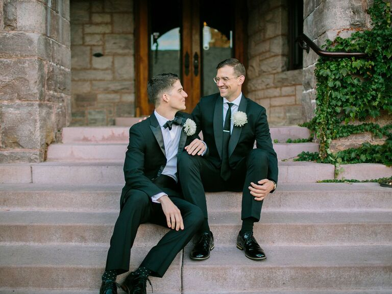 Grooms on wedding day