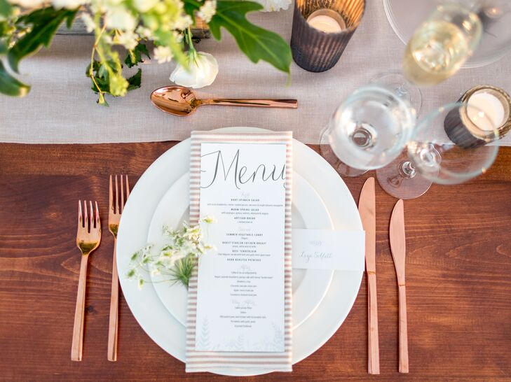 Rustic Place Setting with Stripe Napkin, Copper Flatware and Simple Menu
