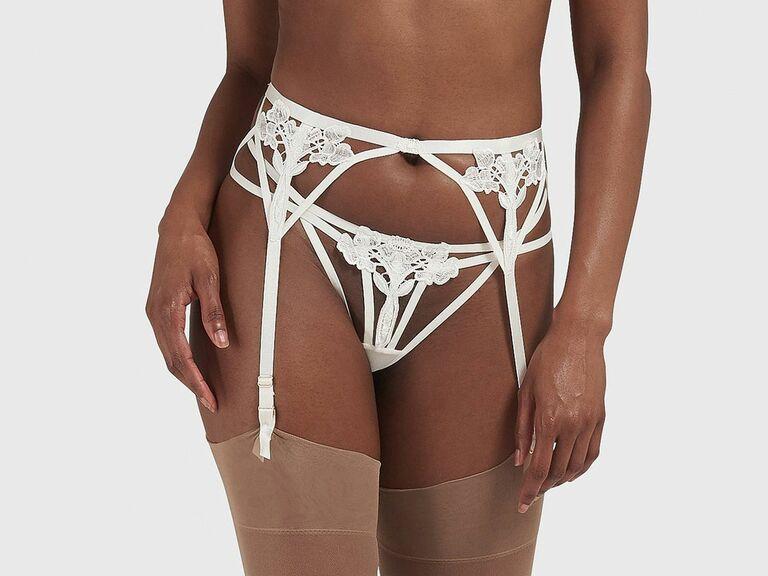 white floral applique garter belt