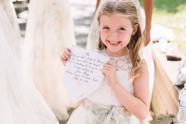 Both flower girls received personalized hankies to save as their something old for their own wedding day (long in the future). The sashes on their Etsy gowns were created from leftover fabric from the bridesmaid dress alterations.
