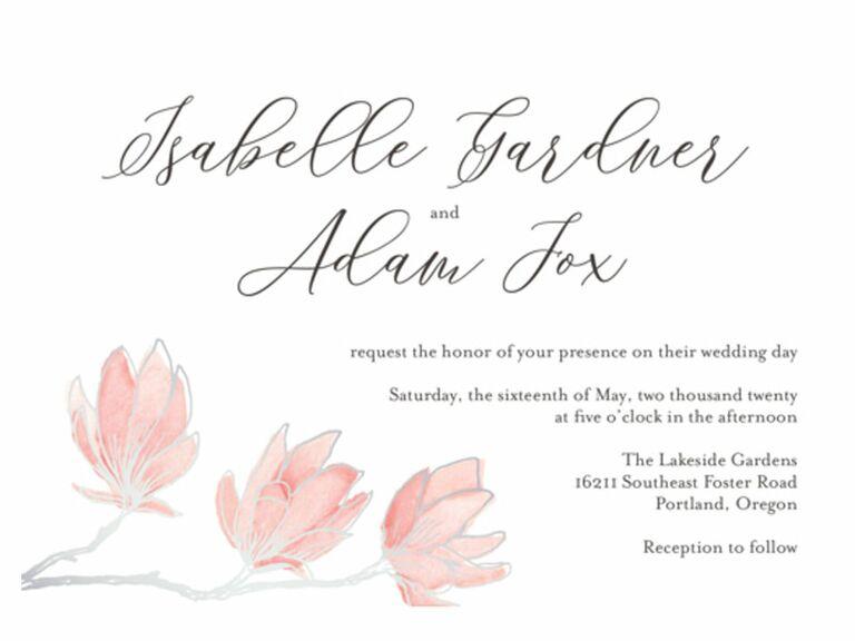 Paper source floral foil spring wedding invitation