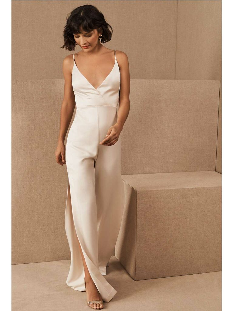 Ivory silk V-neck jumpsuit