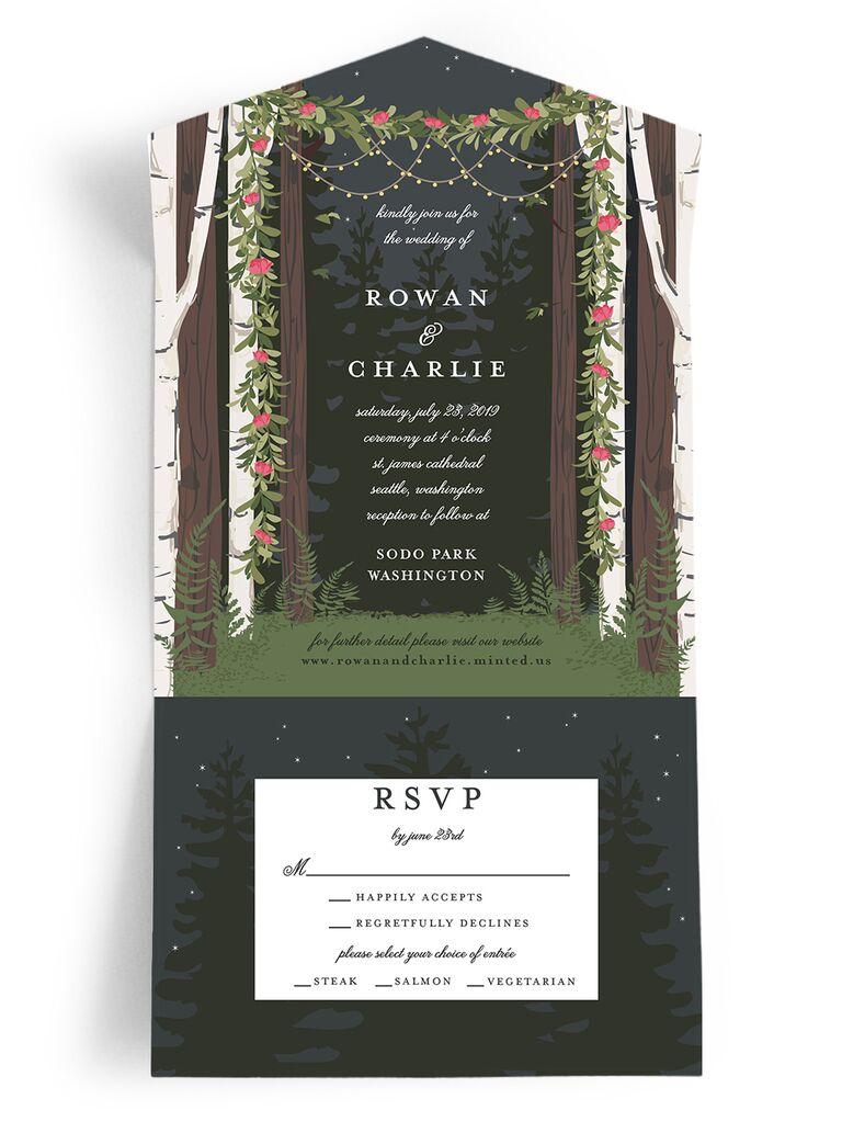Enchanted forest rustic wedding invitation