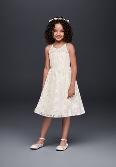 David's Bridal Flower Girl David's Bridal Style OP237 White Flower Girl Dress