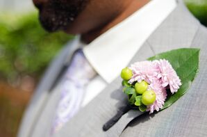 Pink Chrysanthemum Boutonniere With Gray Wedding Suit