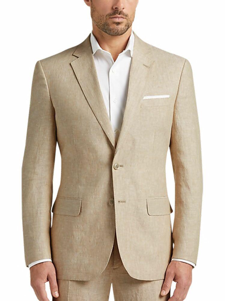 Tan chambray linen slim fit suit