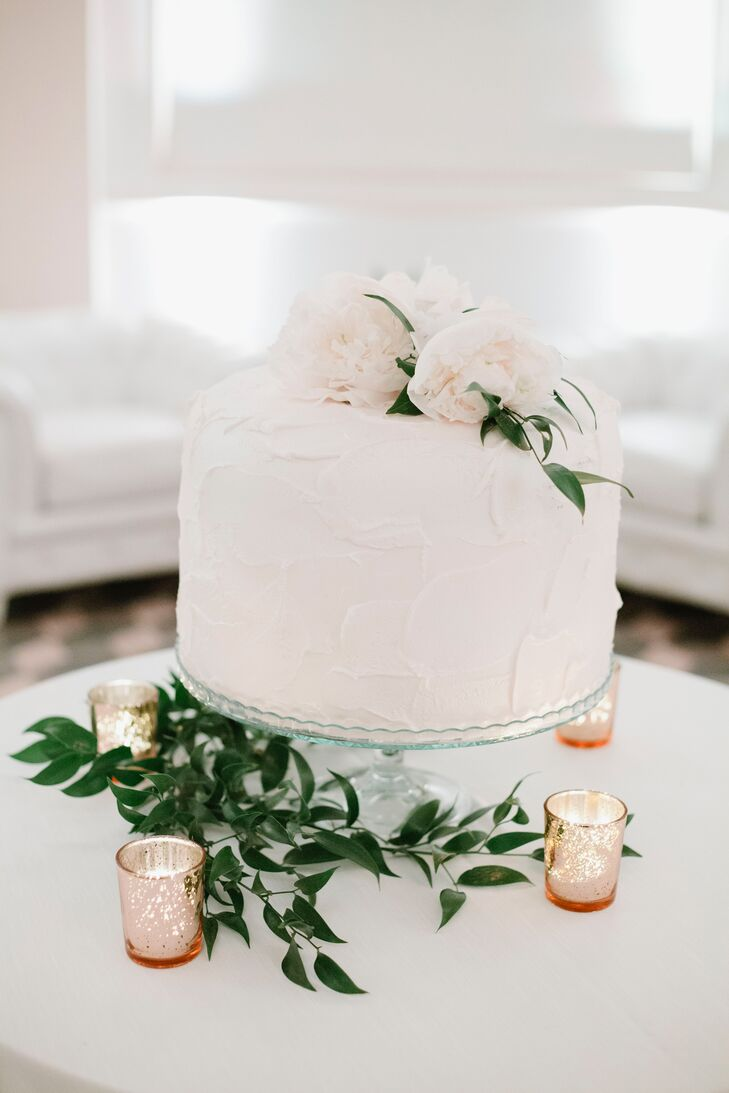 Single-Tier White Cake Decorated with Peonies and Greenery
