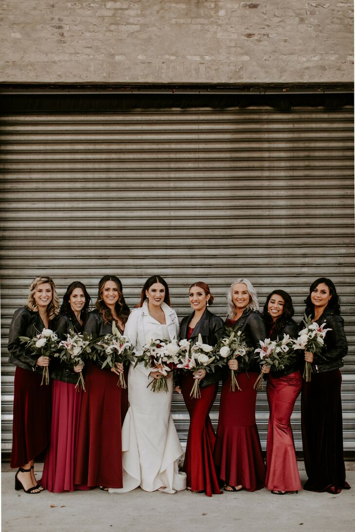Bridal Party with Leather Jackets for Philadelphia Wedding