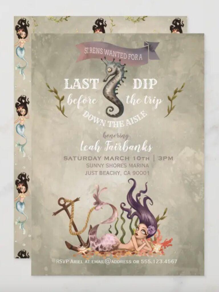 mermaid bachelorette party invitations spooky sirens