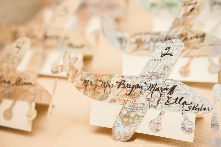 Airplane and Map Escort Cards