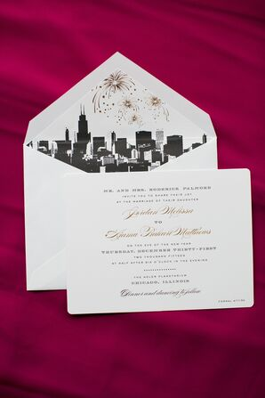 Classic Invitations with Chicago Skyline Envelope Liner