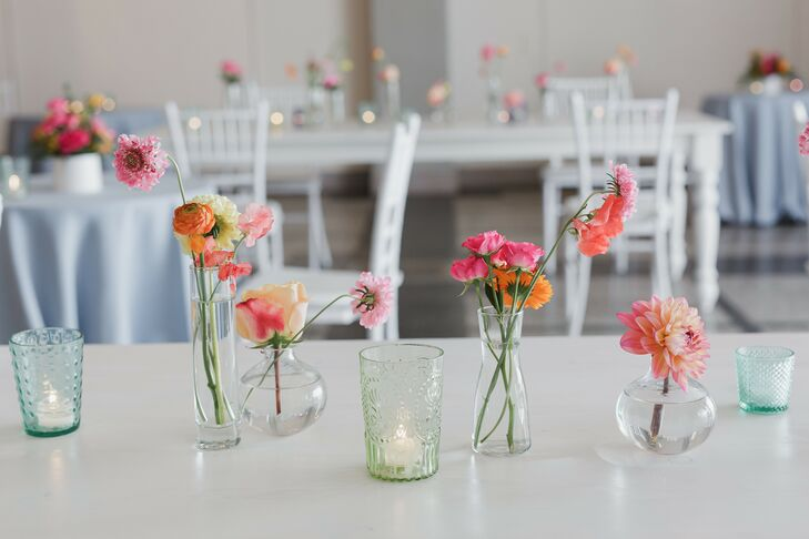 Pink Floral Centerpieces at Loring Social in Minneapolis, Minnesota