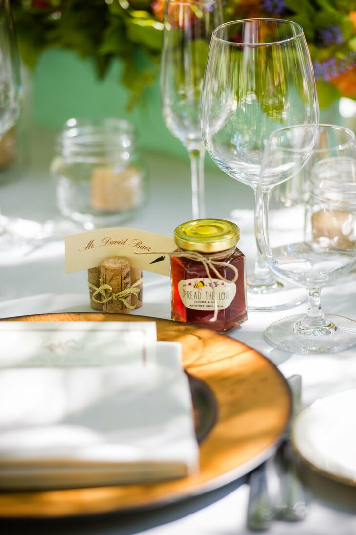 The favors, jars of honey, were left at each place setting for guests to take home.