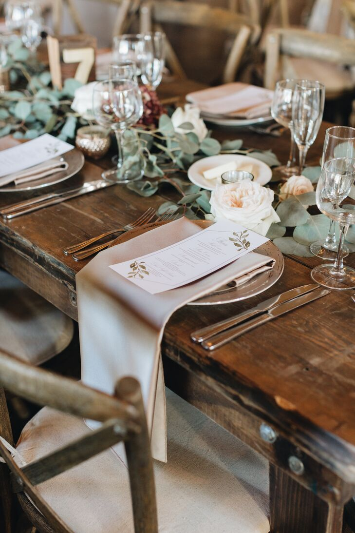 Rustic Wood Tables with Pink Linens