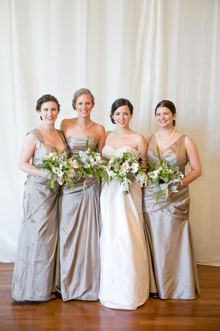 Chelsea let her bridesmaids pick out their dress style, with the only requirements being floor-length and made of luminescent taffeta. They all followed the color scheme filled with natural hues wonderfully, especially when paired with their overflowing bouquets.