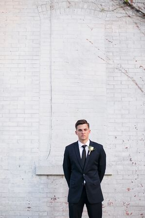 Fitted Navy Groom's Suite