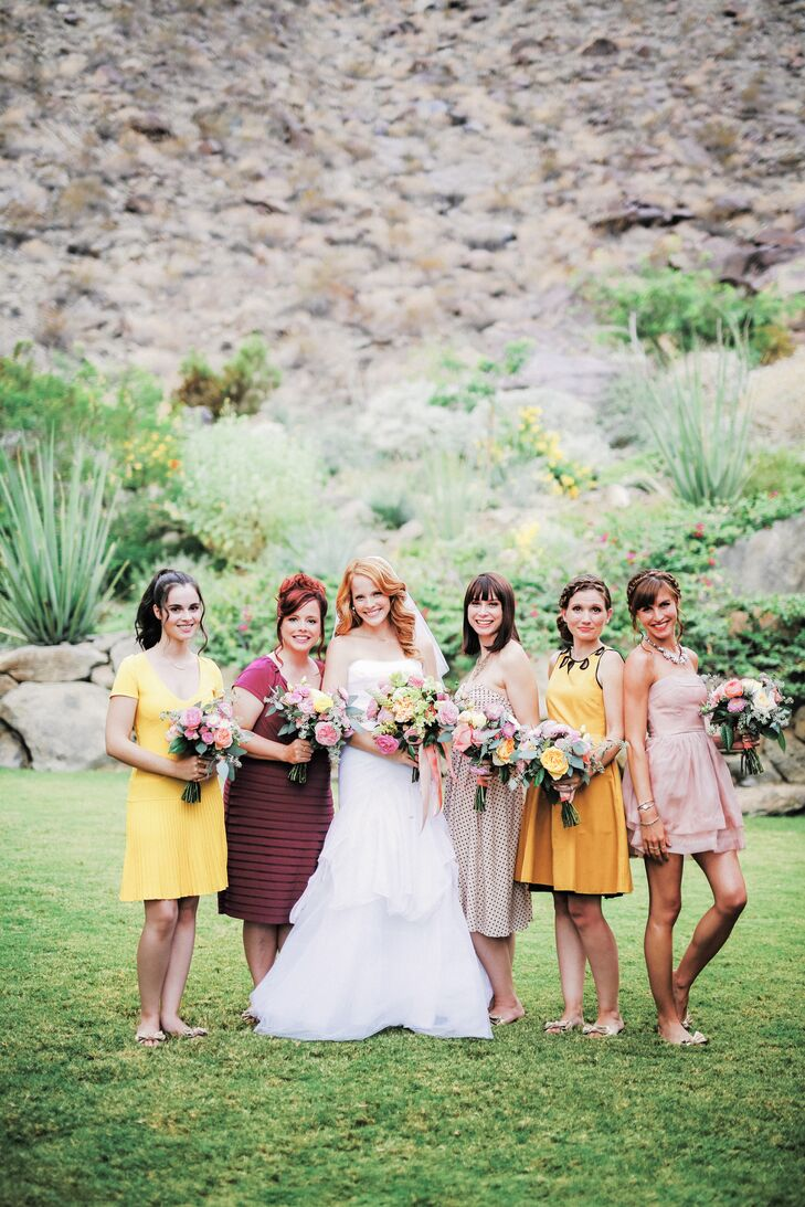 """I wanted the bridesmaids to have dresses they could wear again, so we let them pick out their own within the palette,"" Katie says. ""They wore flip flop shoes to keep things fun and casual."""