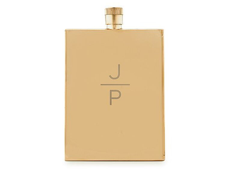The Knot Shop stainless steel flask with monogram etching